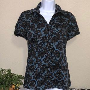 💋 Apt 9 Women's Black & Blue Button Down Shirt